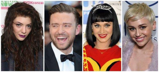 """""""Scanpix"""" nuotr./Lorde, Justinas Timberlake'as, Katy Perry ir Miley Cyrus"""