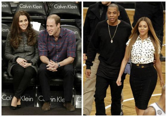"""""""Scanpix""""/AP nuotr./Kembridžo hercogienė Catherine su princu Williamas ir Beyonce su Jay Z"""