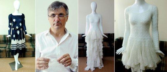 Luko Balandžio/Žmonės.lt nuotr./Valentinas Kairys su savo kurtomis suknelėmis