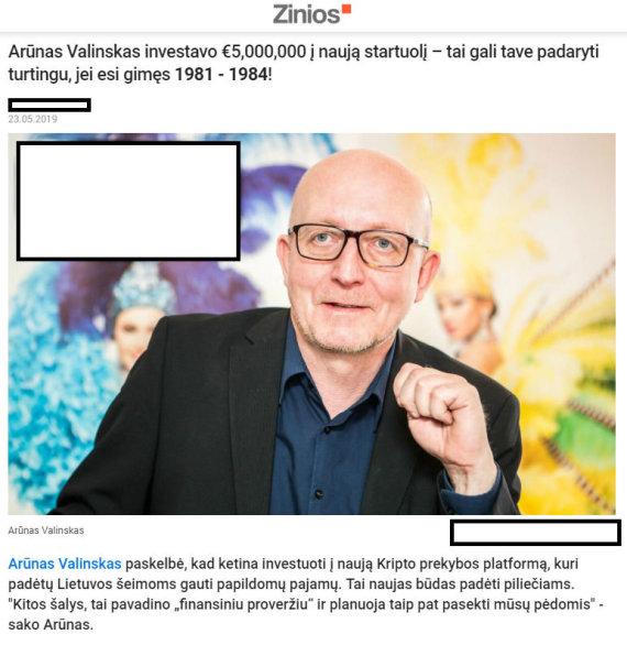 Interneto nuotr./Sukčiai pasinaudojo Arūno Valinsko vardu