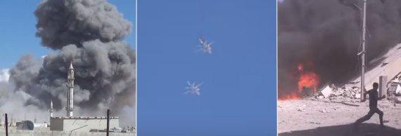 Kadras iš filmuotos medžiagos/Rusijos antskrydžiai Sirijoje
