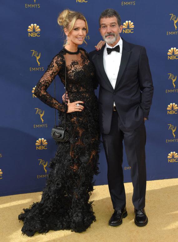 """""""Scanpix"""" nuotr./Antonio Banderasas ir Nicole Kimpel """"Emmy"""" apdovanojimuose"""