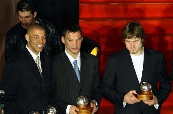 Getty Images/Euroleague.net nuotr./Šarūnas Jasikevičius ir Arvydas Macijauskas 2005 m.
