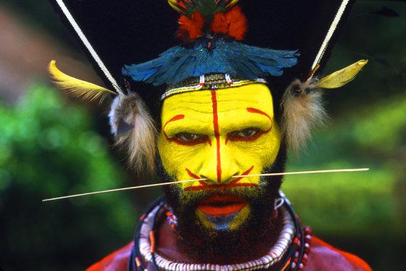 Įspūdingos išvaizdos Huli genties atstovas