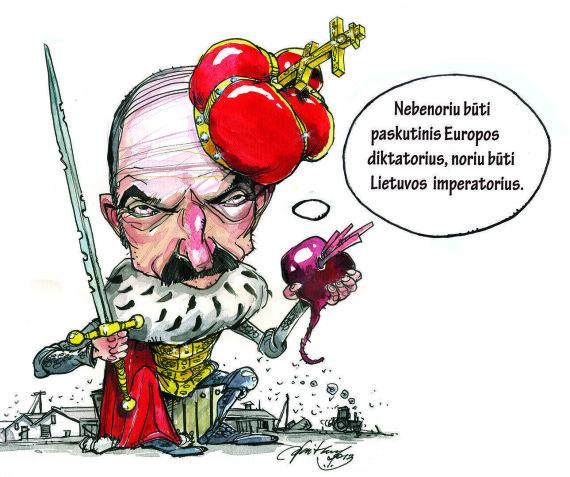 """Ramūno Vaitkaus piešinys/Dabar net Aliaksandras Lukašenka susirūpino tuo, kad Baltarusija buvo """"išstumta"""" iš LDK istorijos dalybų."""