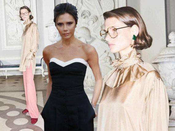 """15min montažas / """"Victoria Beckham""""/Tung Walsh ir """"Scanpix"""" nuotr./Victoria Beckham ir Giedrė Dukauskaitė, reklamuojanti jos kurtus akinius"""
