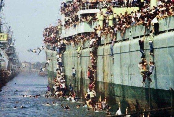 Pabėgėlius juodinantis memas