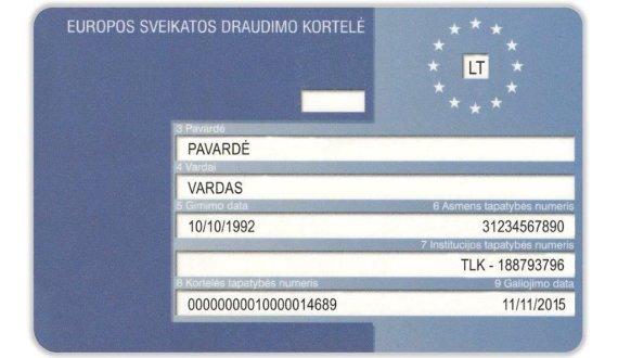 VLK nuotr./Europos sveikatos draudimo kortelė