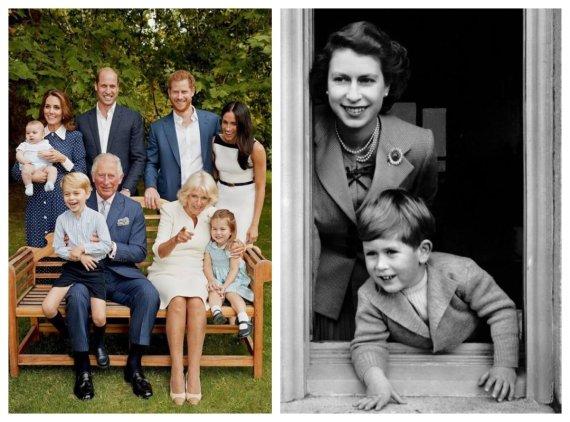 Chriso Jacksono ir Scanpix nuotr./Princas Charlesas dabar ir vaikystėje su mama, karaliene Elizabeth II (1952 m.)