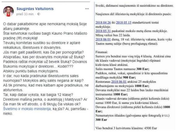 Socialinio tinklo nuotr./Saugirdas Vaitulionis pasibaisėjo ketvirtokų išleistuvių sąmata