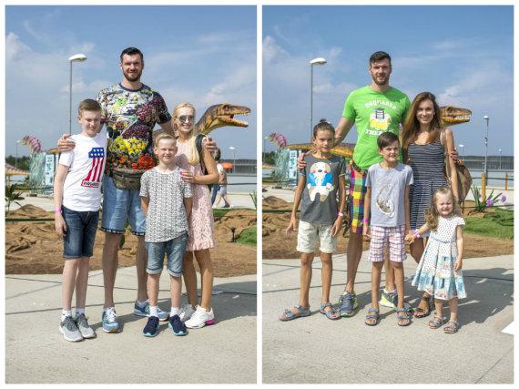 Irmanto Gelūno / 15min nuotr./Darjušas (kairėje) ir Kšyštofas Lavrinovičiai su šeimomis