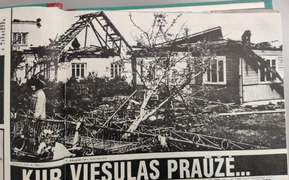 """V.Kulakausko nuotrauka iš 1981 m. žurnalo """"Švyturys""""/Viesulo žala Širvintose"""