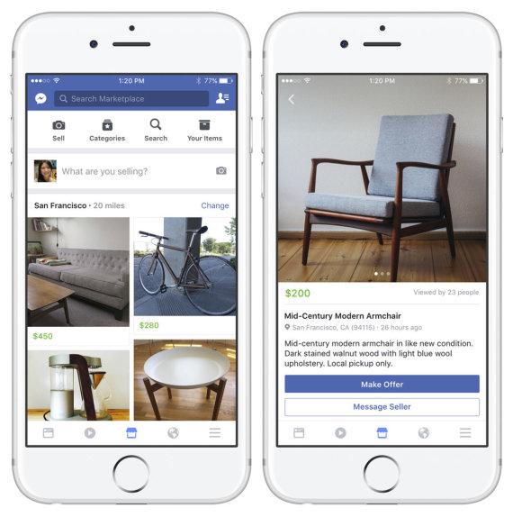 """Scanpix""/AP nuotr./""Facebook Marketplace"" skelbimų platforma"