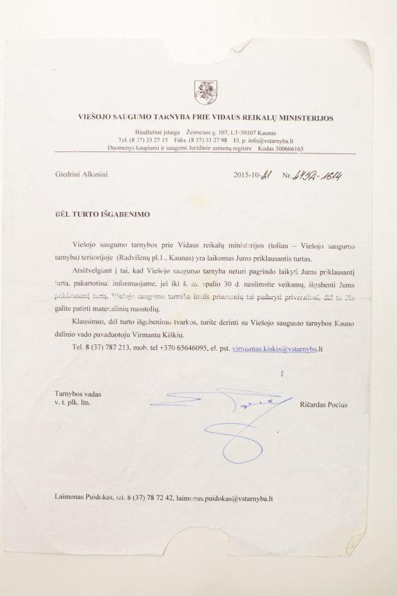 Mariaus Vizbaro / 15min nuotr./VST siųstas raštas G.Alksniui