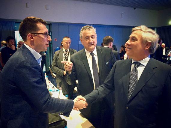 LPF nuotr./Emilis Vaitkaitis su Antonio Tajani ir Paulo Barelli