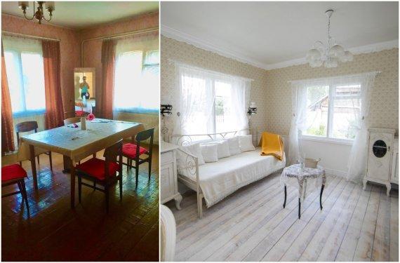 15min koliažas/Daivos kurtas interjeras: namo kambarys prieš ir po