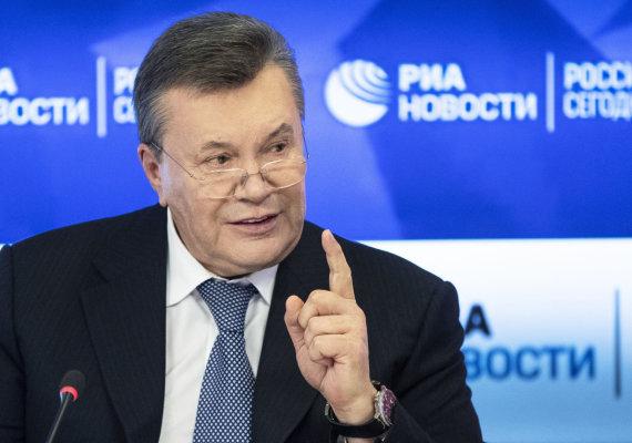 """""""Scanpix""""/AP nuotr./Viktoras Janukovyčius spaudos konferencijoje Maskvoje"""
