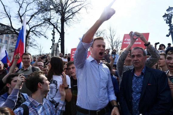 """AFP/""""Scanpix"""" nuotr./Per protestą sulaikytas A.Navalnas"""