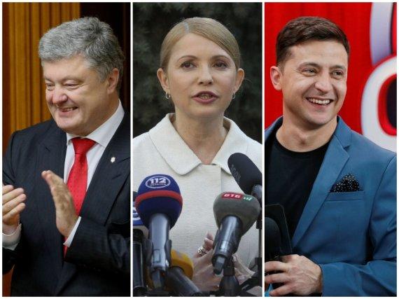 """Reuters""/""Scanpix"" nuotr./Petro Porošenka, Julija Tymošenko ir Volodymyras Zelenskis"