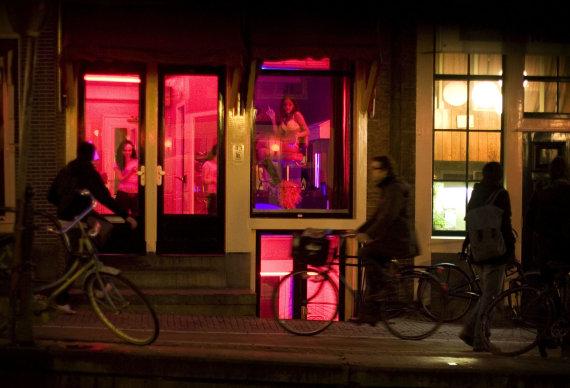 """""""Scanpix""""/AP nuotr./Raudonųjų žibintų kvartalas Amsterdame"""