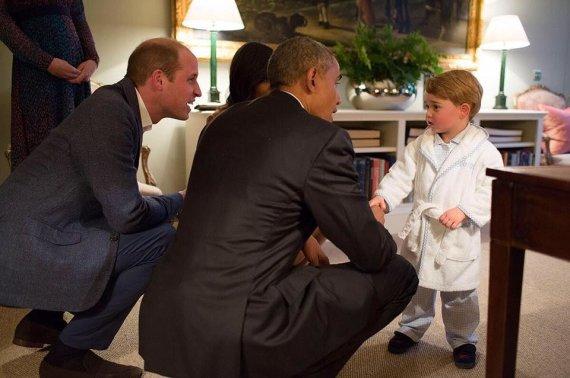 Britų karališkosios šeimos feisbuko nuotr./Princas Williamas, Barackas Obama, princas George'as