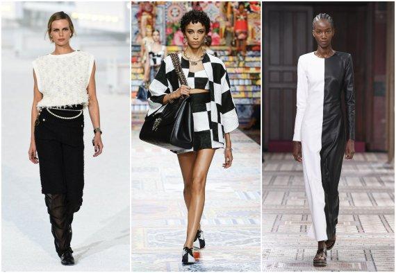 """""""Scanpix""""/ SIPA ir """"Scanpix""""/""""Capital Pictures"""" nuotr./""""Chanel"""", """"Dolce & Gabbana"""", """"Gabriela Hearst"""" 2021 m. pavasario ir vasaros kolekcijų modeliai"""