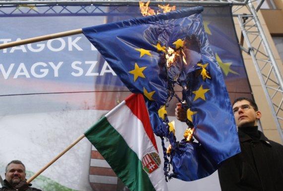 """""""Reuters""""/""""Scanpix"""" nuotr./Vengrijos """"Jobbik"""" partijos nariai degina ES vėliavą"""