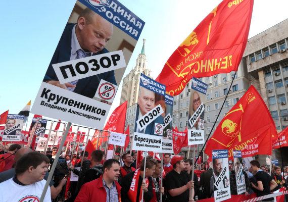 """""""Sputnik"""" nuotr./Protestas prieš valdančiąją partiją """"Vieningoji Rusija"""" dėl pensijų reformos"""