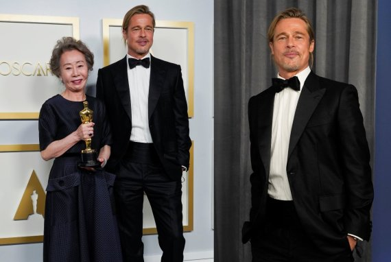 """Reuters""/""Scanpix"" nuotr./Yuh-Jung Yun ir Bradas Pittas ""Oskaruose"""