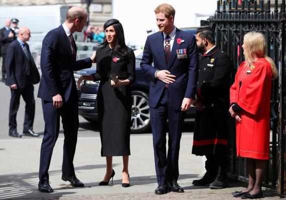 """""""Reuters""""/""""Scanpix"""" nuotr./Princas Williamas, Meghan Markle ir princas Harry"""