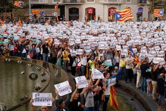 """AFP/""""Scanpix"""" nuotr./Protestas Katalonijoje"""