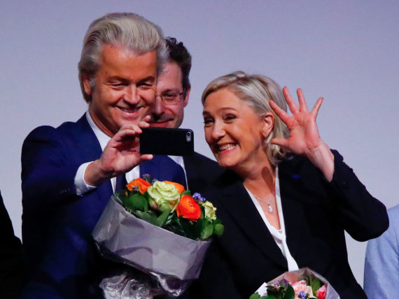 """Reuters""/""Scanpix"" nuotr./Geertas Wildersas ir Marine Le Pen"