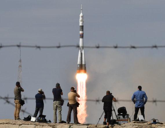 "AFP/""Scanpix"" nuotr./Rusijos erdvėlaivio ""Sojuz"" pakilimas"
