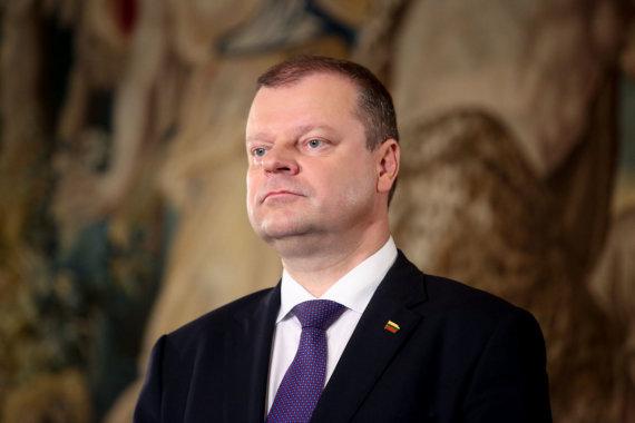 Vidmanto Balkūno / 15min nuotr./Saulius Skvernelis BNS spaudos konferencijoje