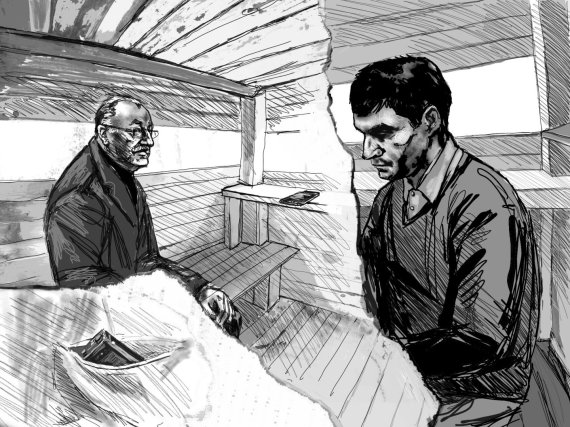 Linos Šlipavičiūtės piešinys/Sergejus Pušinas pastebėjo, kad Sergejus Moisejenka įrašinėja pokalbį