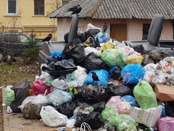 15min skaitytojos Ramunės nuotr./Perpildyti konteineriai šalia S.Dariaus ir S.Girėno g. 5C