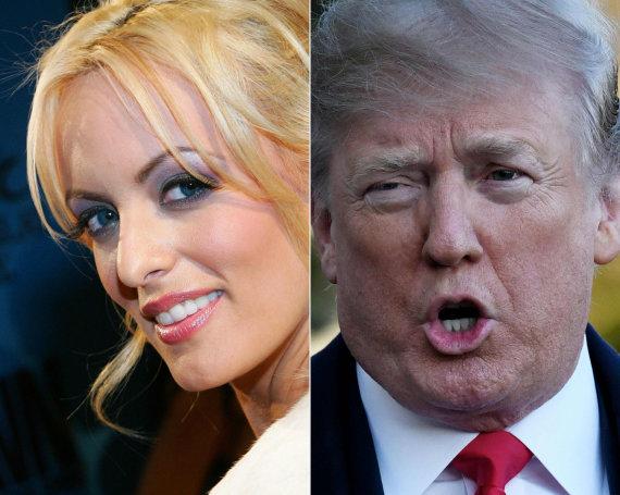 """AFP/""""Scanpix"""" nuotr./Stormy Daniels ir Donaldas Trumpas"""