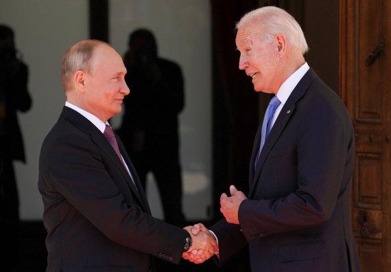 """""""Reuters""""/""""Scanpix"""" nuotr./Joe Bideno ir Vladimiro Putino susitikimas Ženevoje"""