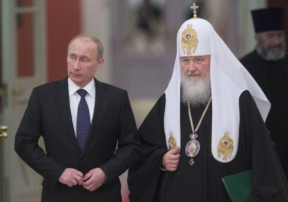 """""""Reuters""""/""""Scanpix"""" nuotr./Vladimiras Putinas ir patriarchas Kirilas"""