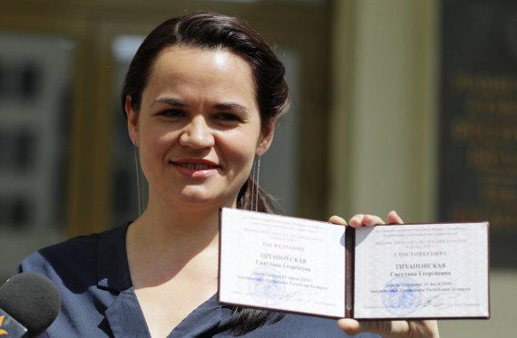 """""""Scanpix""""/AP nuotr./Svetlana Tichanovskaja"""
