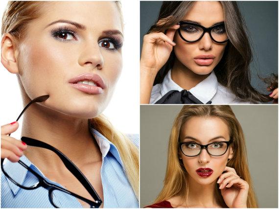 Fotolia nuotr./Jei nešiojate akinius, pasirinkite, ką norėtumėte išryškinti - lūpas ar akis