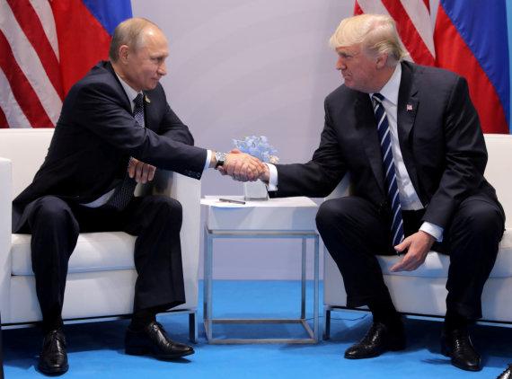 """""""Reuters""""/""""Scanpix"""" nuotr./Vladimiras Putinas ir Donaldas Trumpas"""
