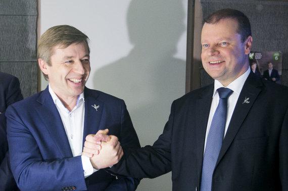 Irmanto Gelūno / 15min nuotr./Ramūnas Karbauskis ir Saulius Skvernelis. 2016 metai