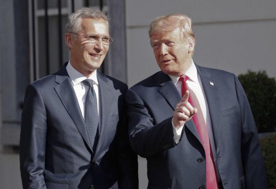 """Scanpix""/AP nuotr./D.Trumpo ir J.Stoltenbergo susitikimas"