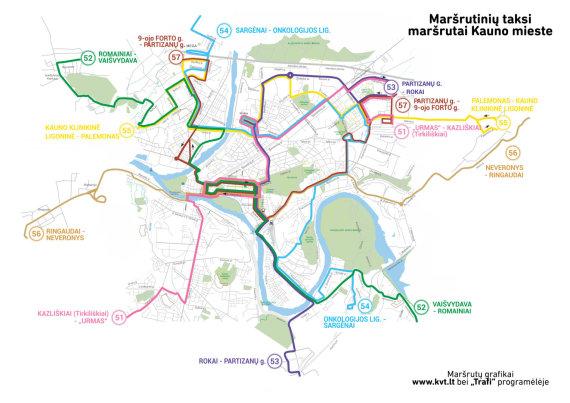 KVT nuotr./Visų maršrutų žemėlapis nuo rugpjūčio 27 d.