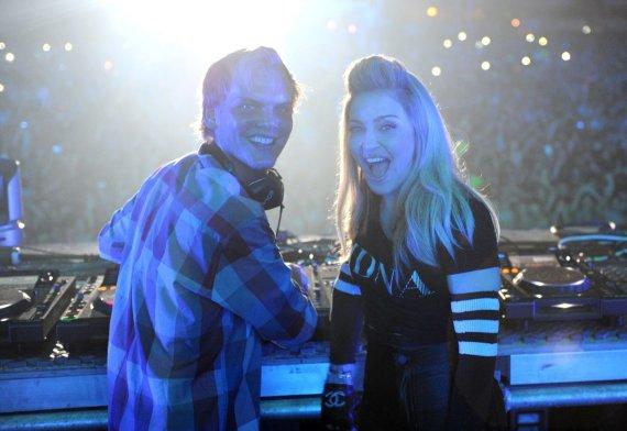 Vida Press nuotr./Avicii ir Madonna (2012 m.)