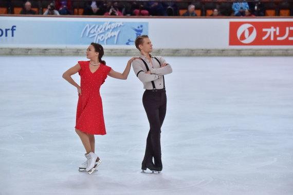 Lietuvos čiuožimo federacijos archyvo nuotr./Allison Reed ir Saulius Ambrulevičius