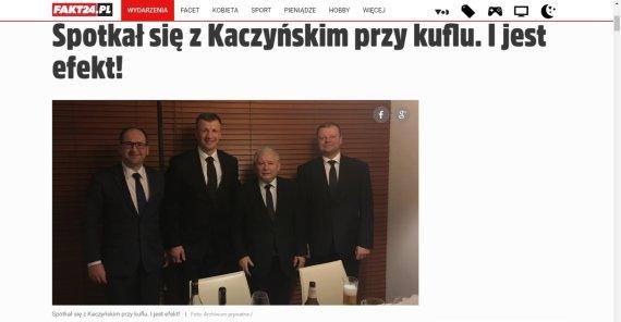 Kadras iš Fakt.pl/Sauliaus Skvernelio ir Jaroslawo Kaczynskio susitikimas prie alaus