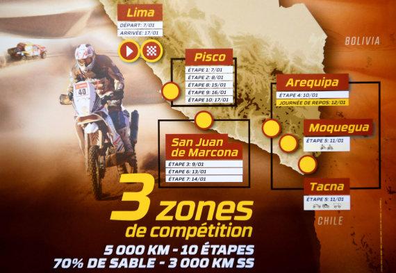 """AFP/""""Scanpix"""" nuotr./2019 m. Dakaro ralio žemėlapis: 100 proc. Peru"""
