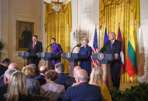 Lietuvos Respublikos Prezidento kanceliarijos/Roberto Dačkaus nuotr./Donaldo Trumpo ir Baltijos šalių vadovų susitikimas
